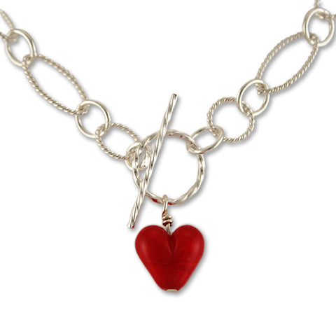 Red heart Toggle Necklace