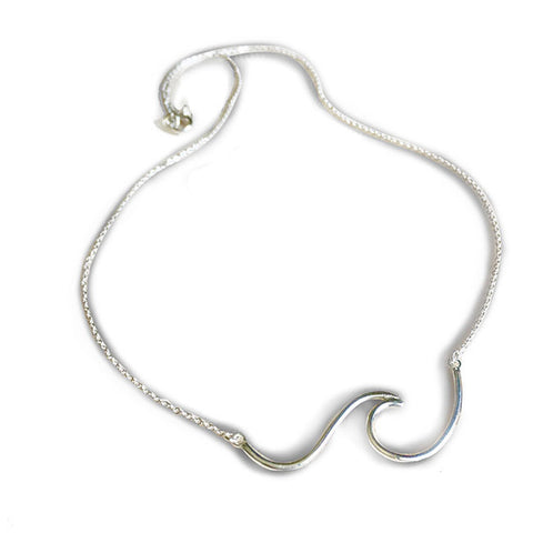 Sterling Silver Ocean Wave Necklace