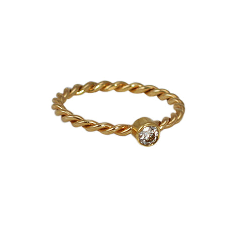 14kt Gold Diamond Twist Ring Alt View