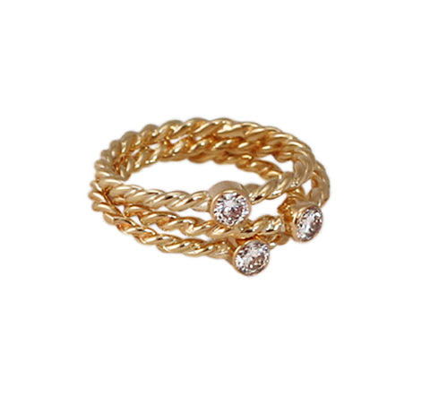 14kt Gold Diamond Stack Ring Trio