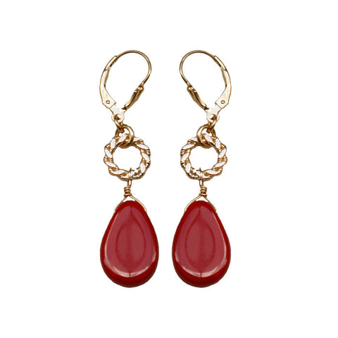 Red Glass Drop (Medium) Gold Fill Earrings