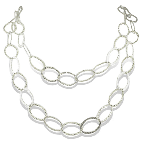 Sterling Silver Bebe Link Necklace