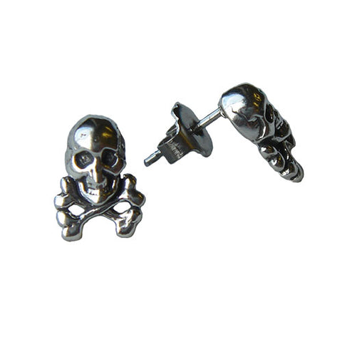 Skull and Cross Bone Stud Earrings
