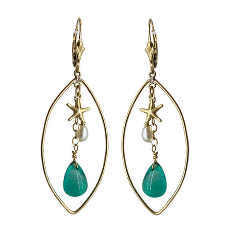 Gold Fill Star Fish Green Agate Chandelier Earrings