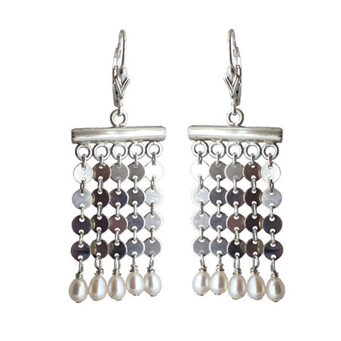 Sterling Silver Pearl Chainmail Earrings