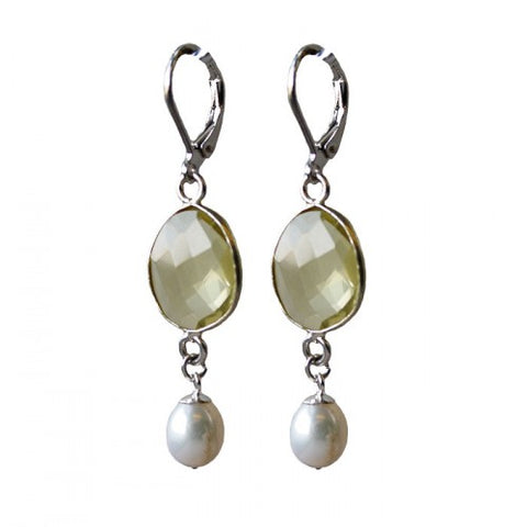 Yellow Quartz Pearl Earrings