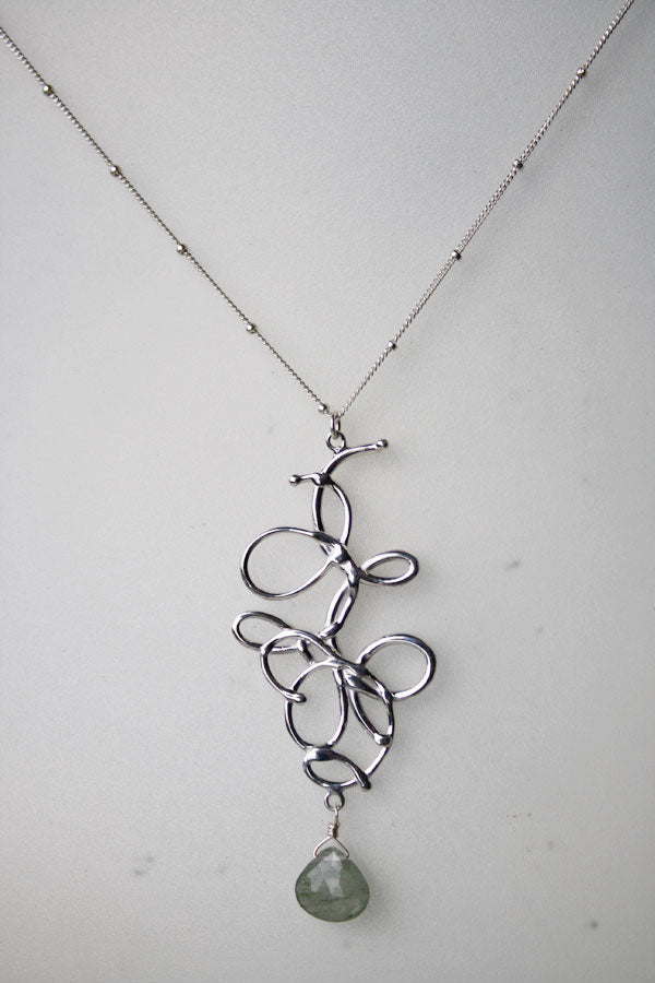 Tina Tang Long Squiggle Silver Necklace