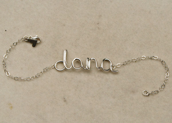 Custom Name Bracelet for Dana, made by Tina Tang.
