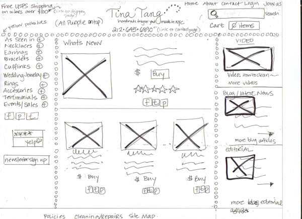 Rough Sketch Redesign for NYC Jewelry Designer Tina Tang