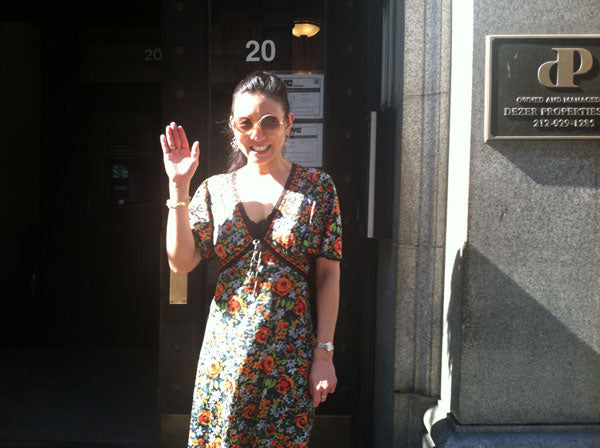 Tina Tang, NYC Jewelry Designer, in front of new office, 20 West 20th Street, NYC
