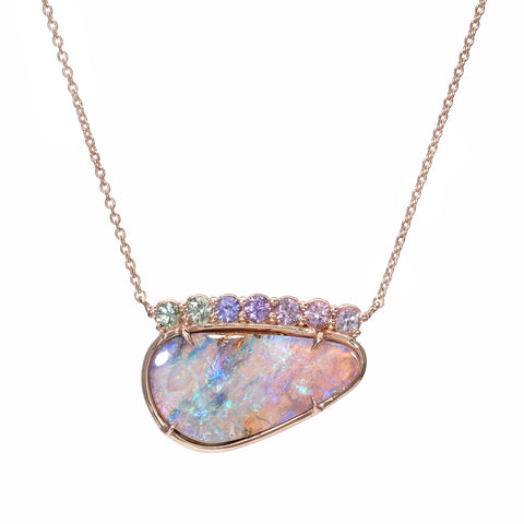 Bloom Rose Gold Lavender Opal Sapphire Necklace by NIXIN Jewelry