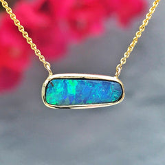 Custom Boulder opal necklace from NIXIN Jewelry