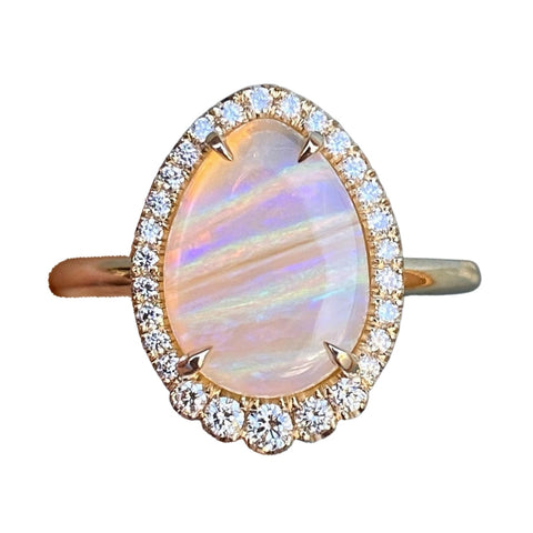 Striations of Love Pipe Opal and Diamond Gold Ring by NIXIN
