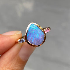 Exhale lavender Boulder opal rose gold ring by NIXIN Jewelry