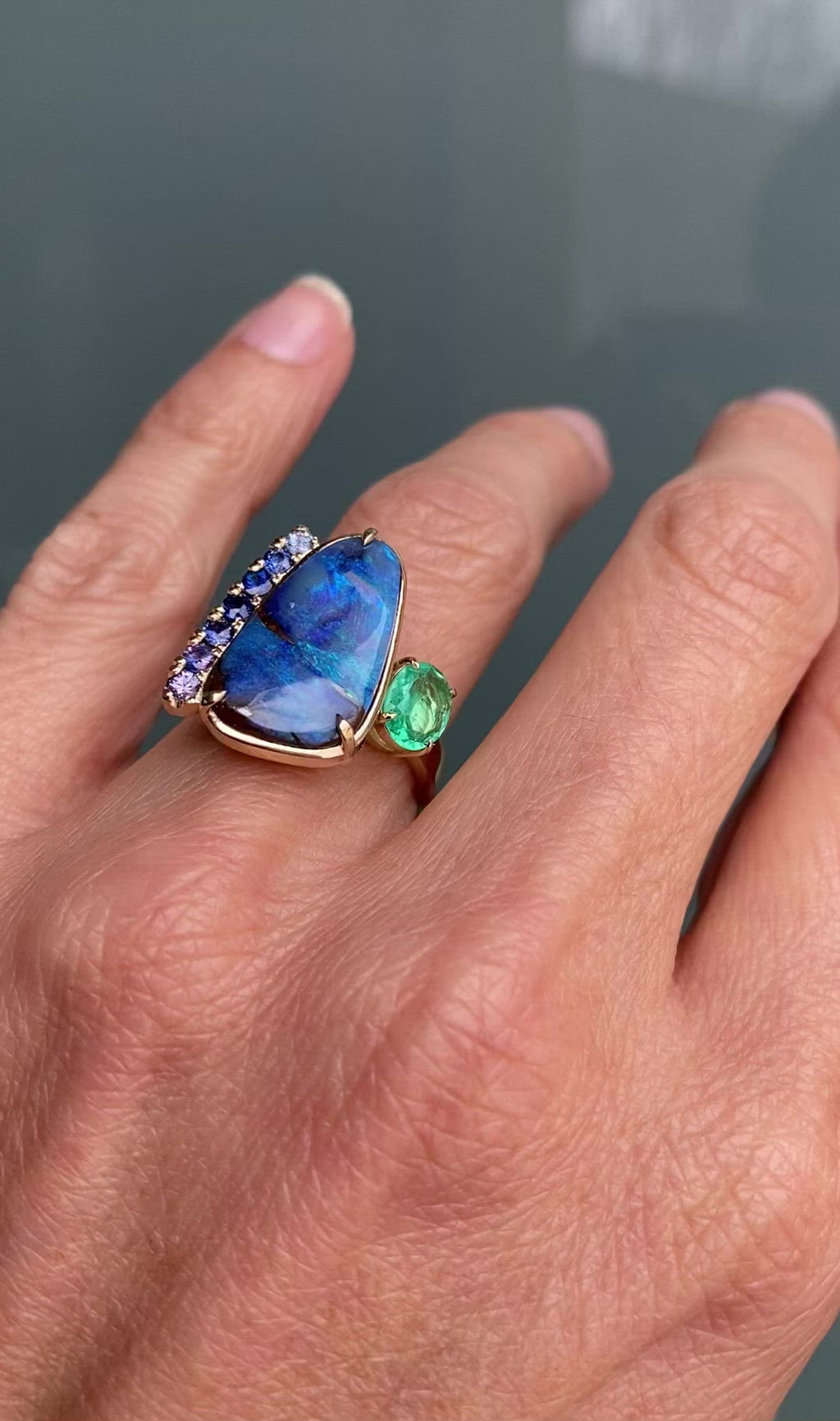 Alchemy Opal Sapphire and Emerald Gold Ring by NIXIN Jewelry