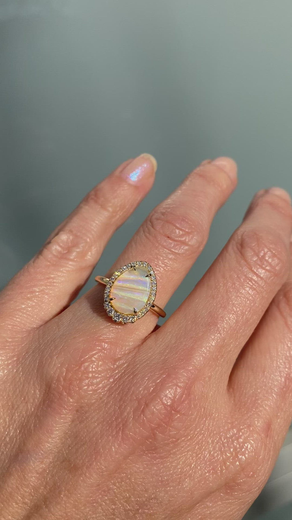 Striations of Love Pipe Opal and Diamond Gold Ring by NIXIN Jewelry
