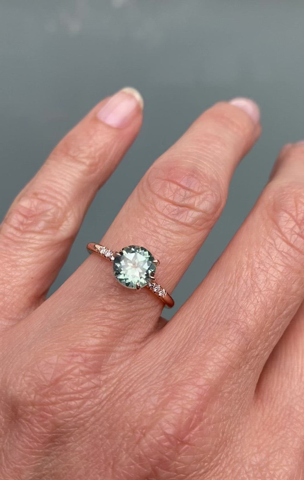 Behold Seafoam Montana Sapphire Rose Gold Ring by NIXIN Jewelry