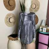 Metallic Silver Dress