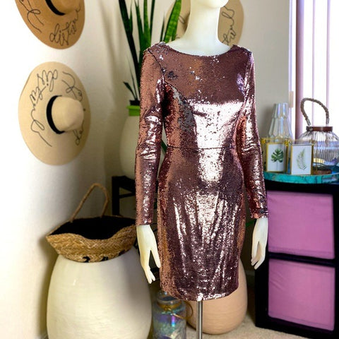 Rose Gold Long Sleeve Sequin Dress