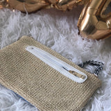 Straw Clutch with Sequin Embroidery