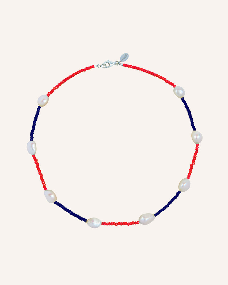 PATCHWORK SILVER RED/BLUE NECKLACE