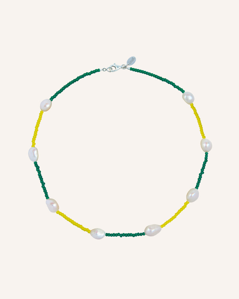 PATCHWORK SILVER GREEN/YELLOW NECKLACE