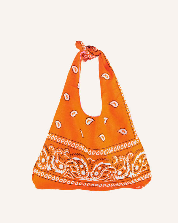 REVERSIBLE BANDANA PAISLEY ORANGE/PINK HANDBAG