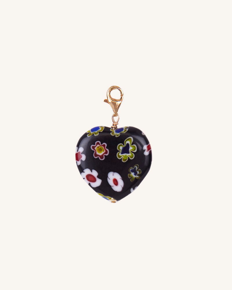 BLACK HEART CHARM/EARRING