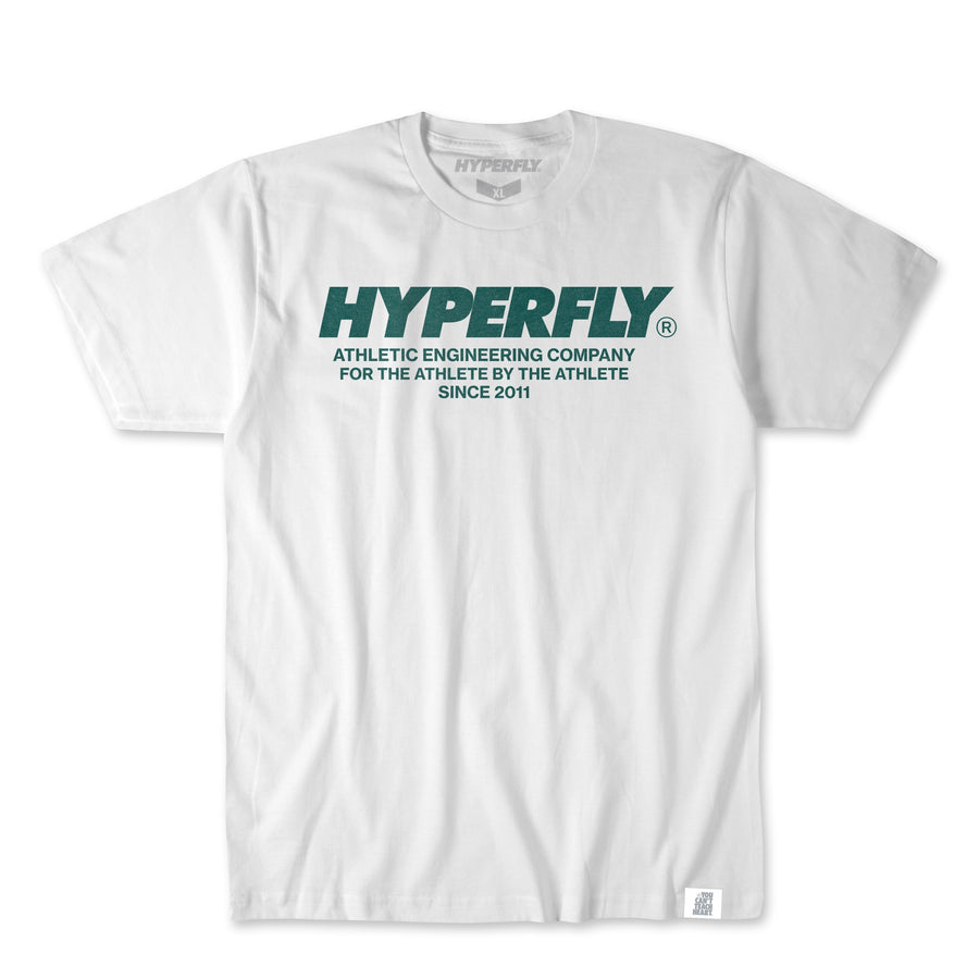 Hyperfly Engineered Tee Apparel - Tee Hyperfly White w. Forest Green X Small