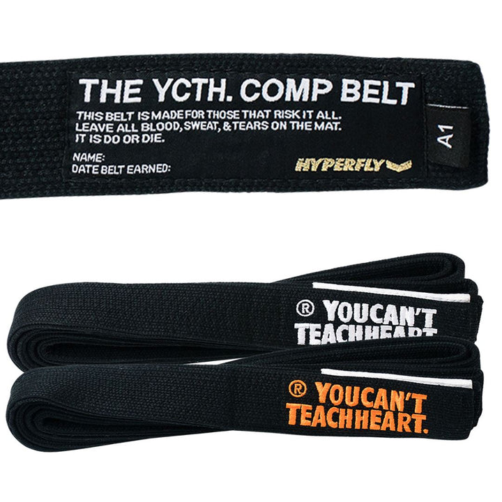 YCTH. Comp Belt Gi Belts DO OR DIE Black w/ Orange A0