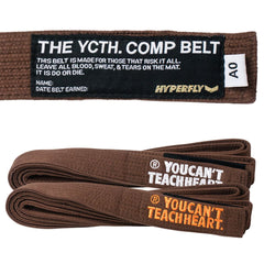 YCTH. Comp Belt Gi Belts DO OR DIE Brown w/ Orange A0