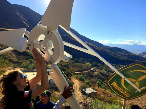 Assembling a 2500W turbine in Peruvian mountains