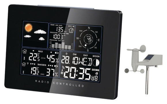Nedis Solar Weather Station inside and outside Black 315911 -o2health
