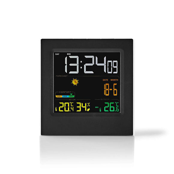Nedis Weather Station | Wireless sensor | Alarm clock | Weather forecast WEST404BK - o2health