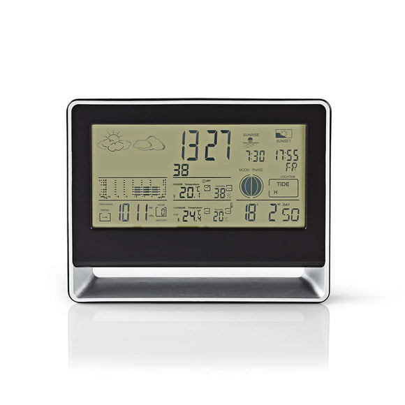 Nedis Weather Station | Wireless sensor | Alarm clock | Weather forecast WEST405BK - o2health