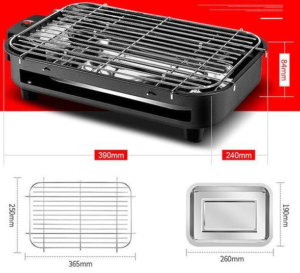 Portable 1300W Electric Smokeless Grill for Indoor and Outdoor