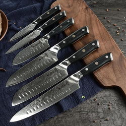 Chef Professional Japanese VG10 Damascus Knife Set with Full Tang