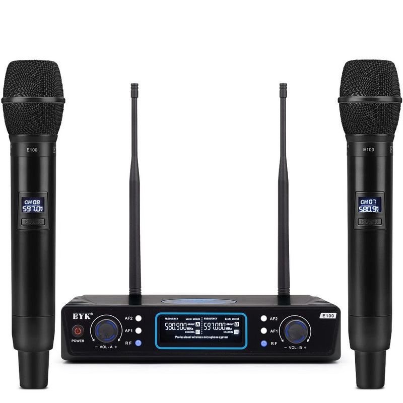 EYK Professional Wireless UHF Dual Microphone System with Handheld Set