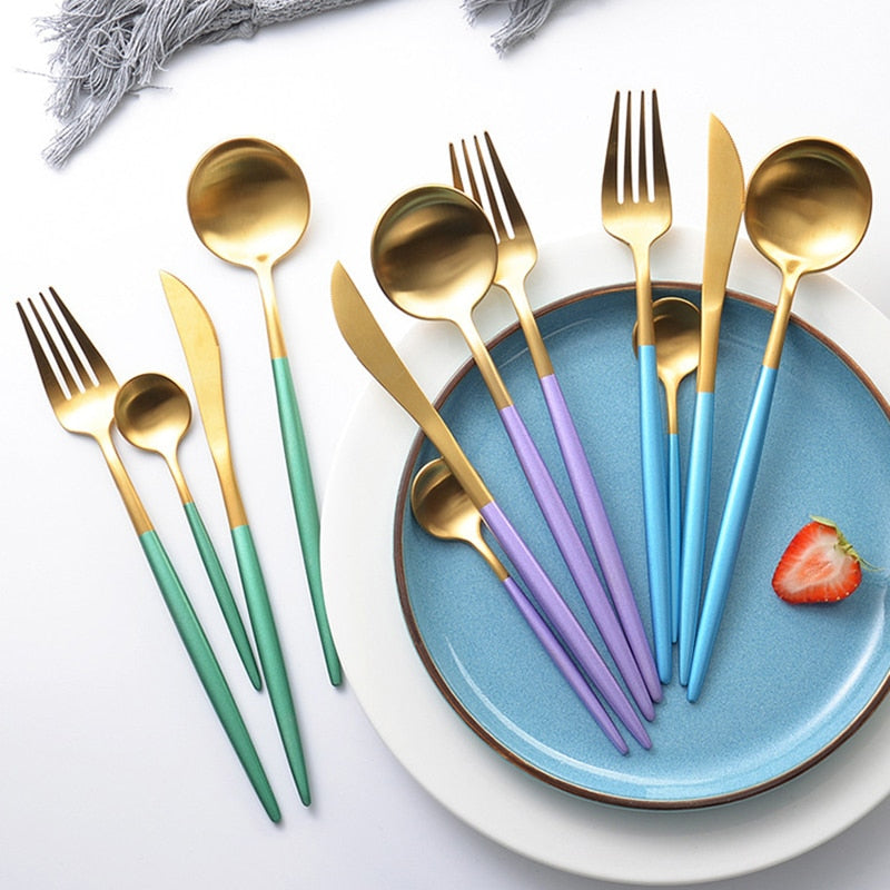 Luxury Stainless Steel 24-Piece Gold Silver Flatware Set