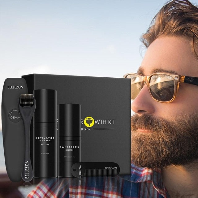Beard Growth Oil Serum Kit & Microneedle Follicle Roller | Facial Product Supplement for Men