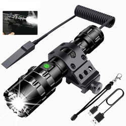 Waterproof Rechargeable LED Tactical Flashlight - 6500 Lumens