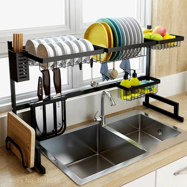 Stainless Steel Over The Sink Dish Drying Rack