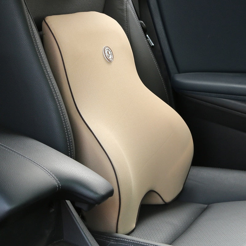 Orthopedic Memory Foam Lumbar Back Support Cushion & Headrest Pillow