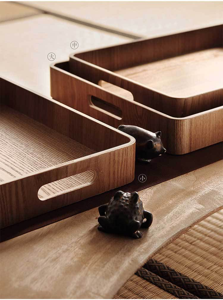 Japanese Wooden Coffee Table Serving Tray with Handles