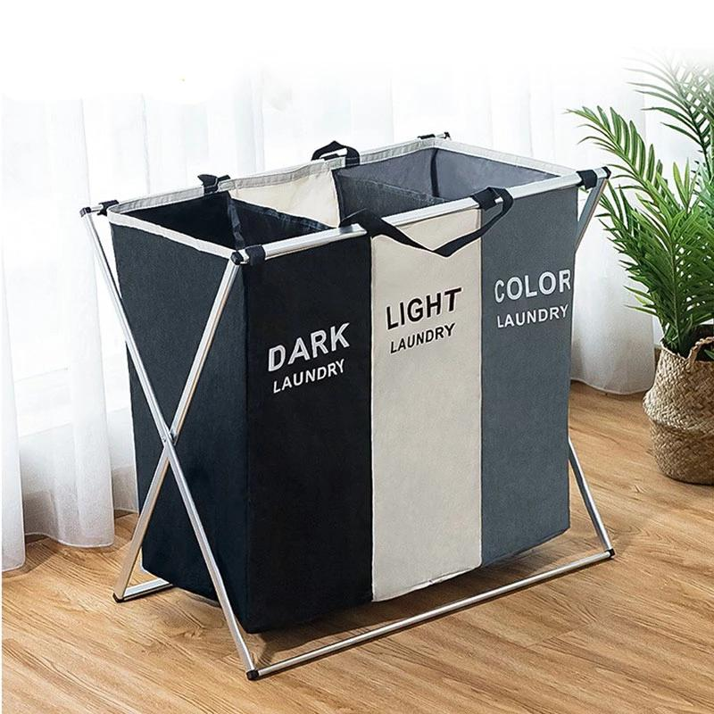 Laundry Sorter Organizer Basket Hamper (3 Sections)