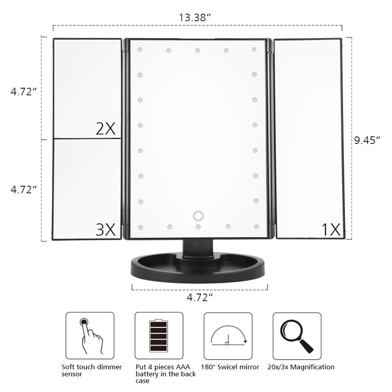 LED Touch Screen Makeup Mirror Tri Fold Magnifying with Lights