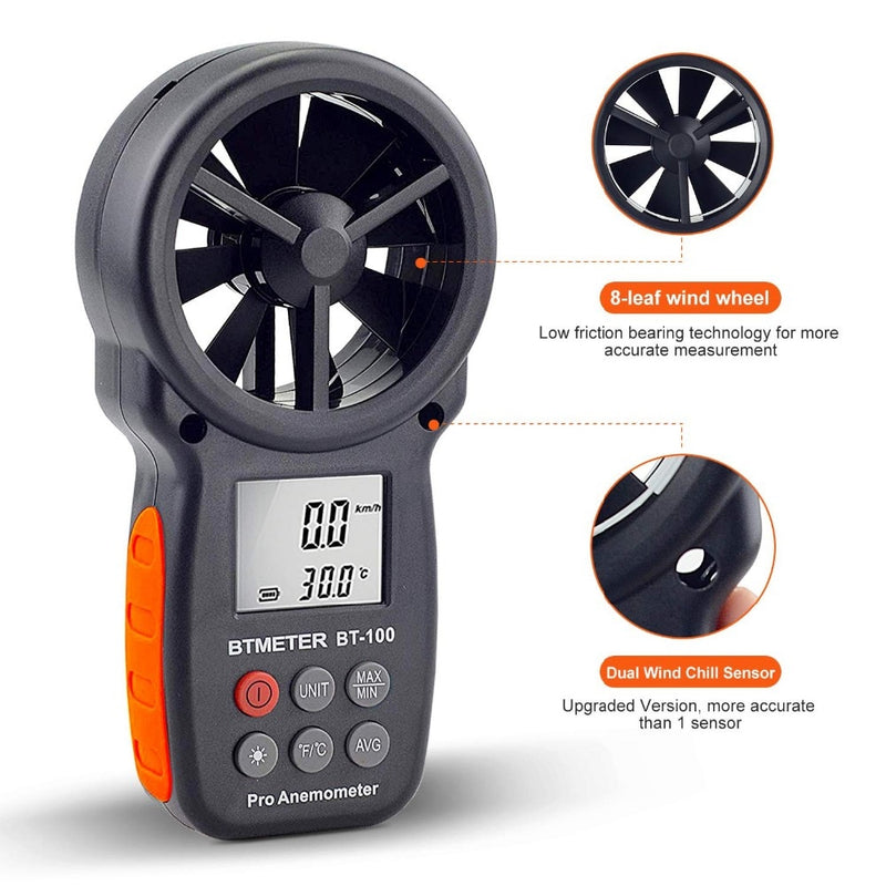 Digital Anemometer Handheld Wind Speed Meter BT-100