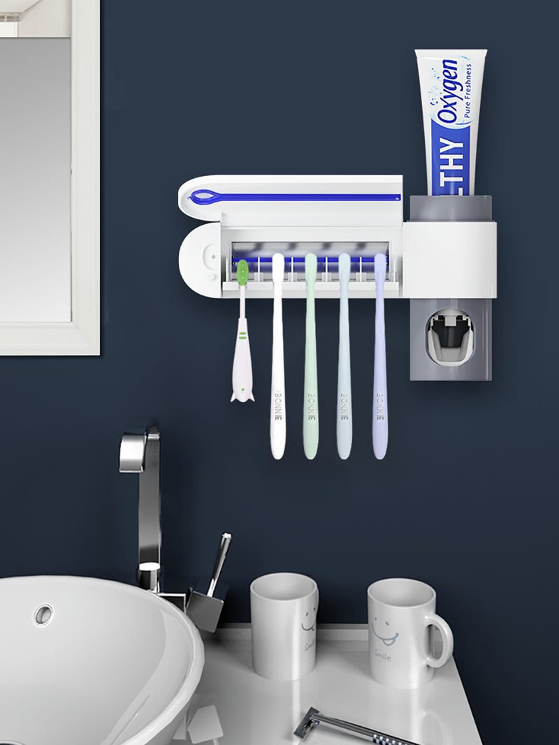 UV Toothbrush Sterilizer Toothpaste Dispenser Wall Mounted Toothbrush Holder