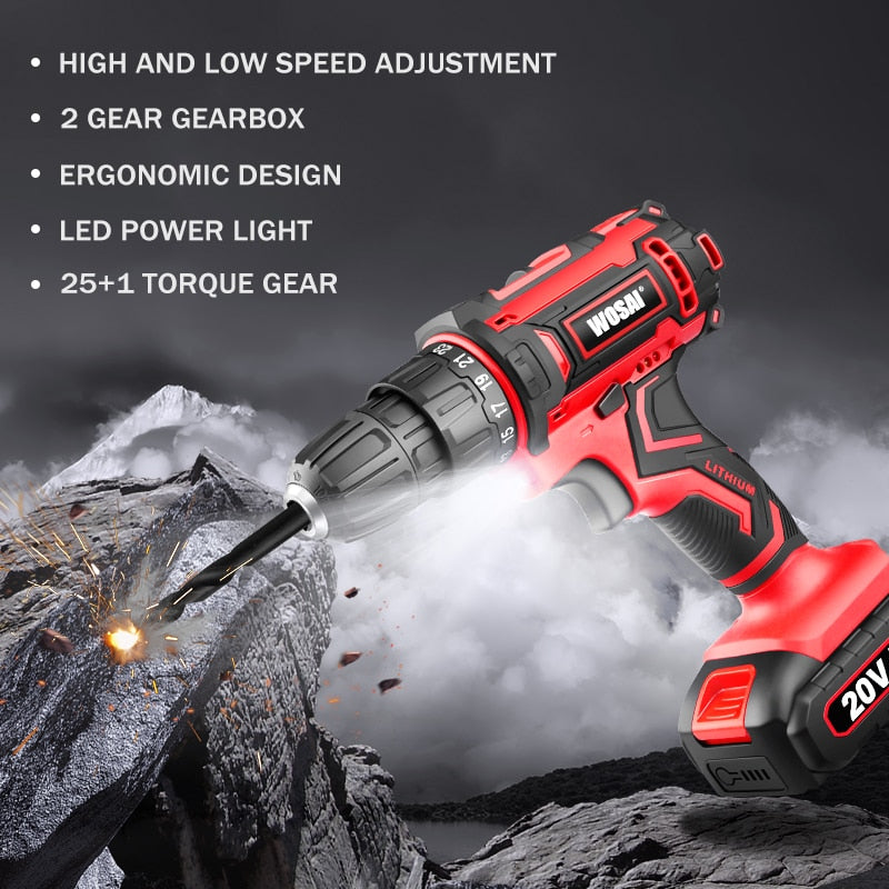 Cordless Drill Electric Screwdriver with Drill Bits
