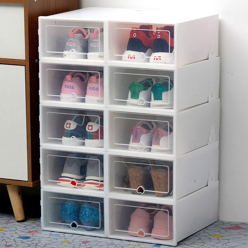 Transparent Clear Shoe Box Storage Shoe Boxes Thickened Dustproof Shoes Organizer Box - 6pcs
